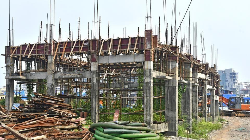 Work in progress at Guzderband Pumping Station in Mumbai.