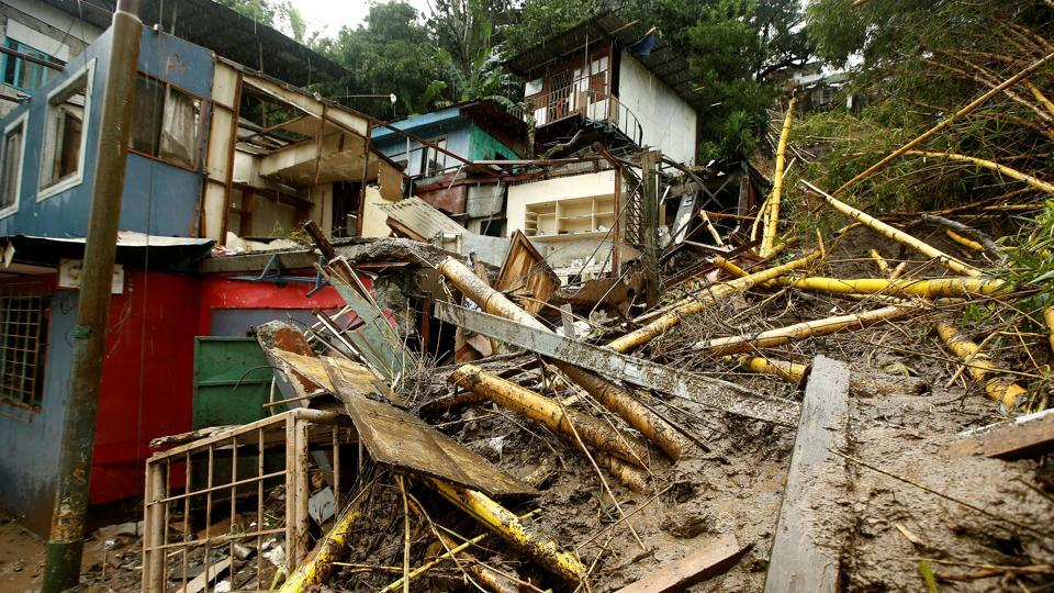 Houses damaged by a mudslide are seen during heavy rains of Tropical Storm Nate that affects the country in San Jose, Costa Rica October 5, 2017.