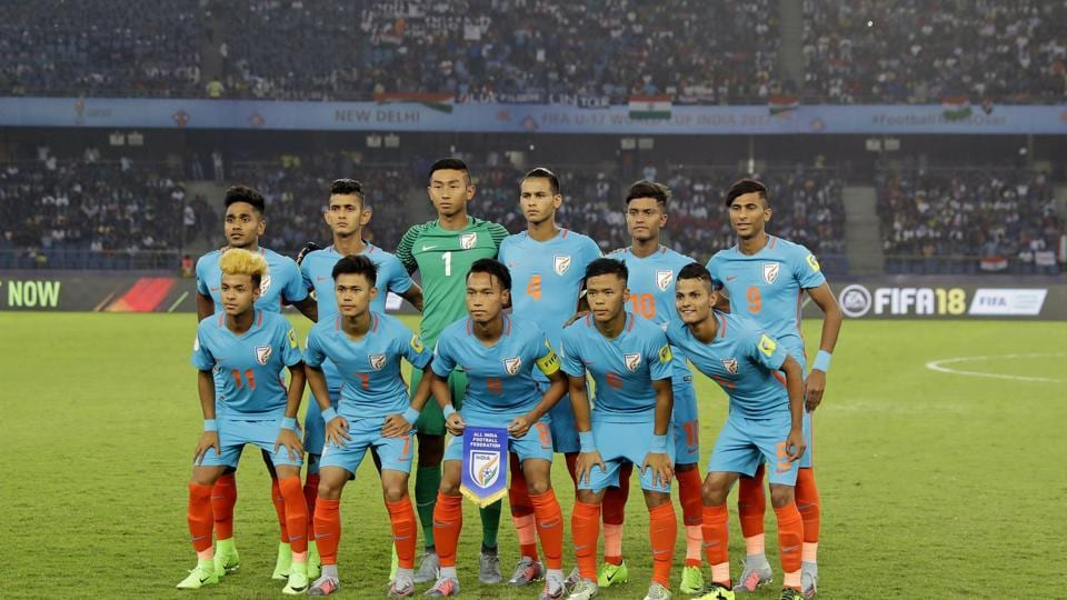 It was a proud moment for the India U-17 football team as they stepped out for their first-ever FIFA world event match at the JLN stadium. (AP)