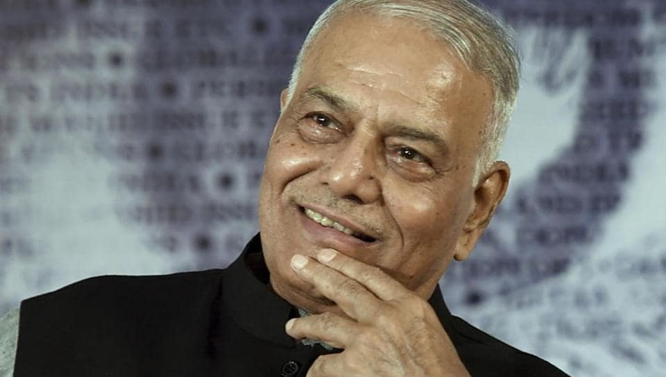 BJP veteran Yashwant Sinha at the release of Congress leader and former union minister Manish Tewari's book at a function in New Delhi on Thursday.