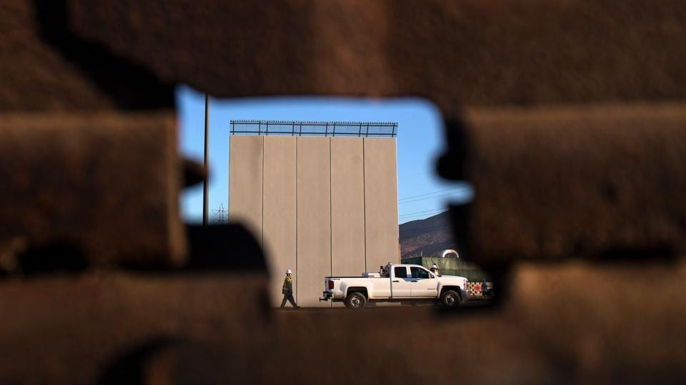 Picture of a prototype of US President Donald Trump's US-Mexico border wall being built near San Diego, in the US.