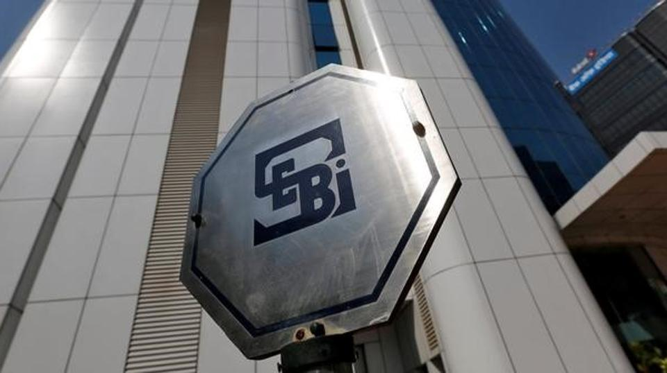 The logo of the Securities and Exchange Board of India (SEBI) pictured on the premises of its headquarters in Mumbai.