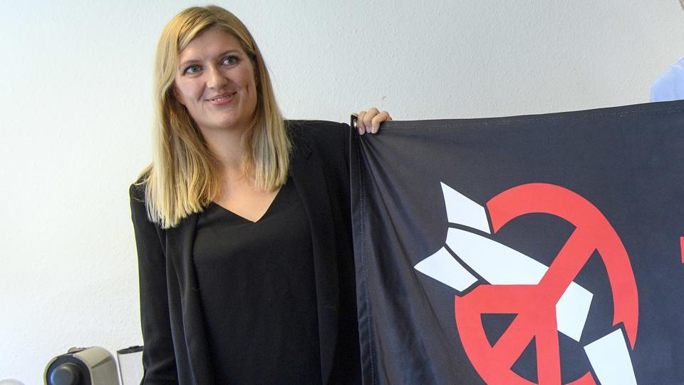 Beatrice Fihn, Executive Director of the International Campaign to Abolish Nuclear Weapons (ICAN), poses at the headquarters of the International Campaign to Abolish Nuclear Weapons (ICAN), in Geneva, Switzerland, on Friday.