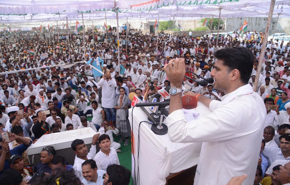 Rajasthan  Congress chief  Sachin Pilot addressing a Kisan Sammelan in Jhalawar on Friday  on the  concluding day of his four-day  Kisan Nyay Padyatra in Hadauti region.