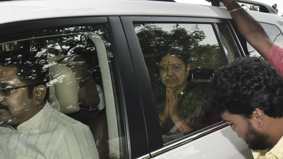 VK Sasikala (sitting at the back) was granted parole for five days to visit her ailing husband in Chennai.