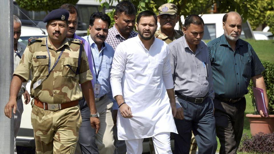 Former Bihar deputy CM Tejashwi Yadav arrives at the CBI headquarters for questioning in connection with the ongoing probe into the alleged irregularities in awarding contracts to a private firm, in New Delhi.
