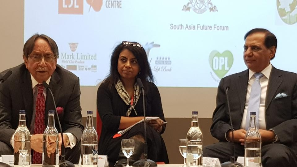 AS Dulat, former RAW chief (left), LSE academic Mukulika Banerjee (centre) and Ehsan-ul-Haq, former ISI chief (right), in London on October 6, 2017.