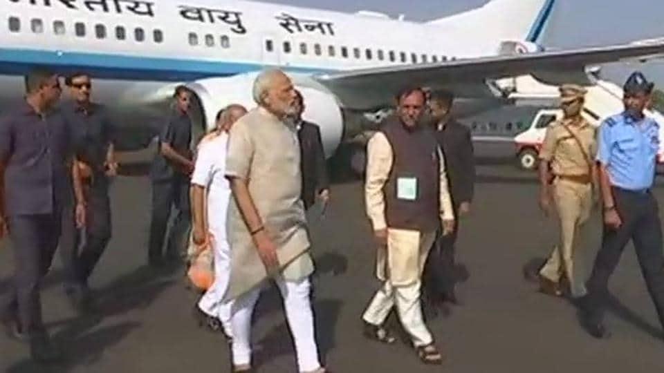 PMNarendra Modi arrives in Gujarat.