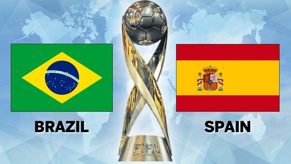 Brazil beat Spain 2-1 in Kochi to go atop the standings of Group D. Get full football score of Brazil vs Spain here.