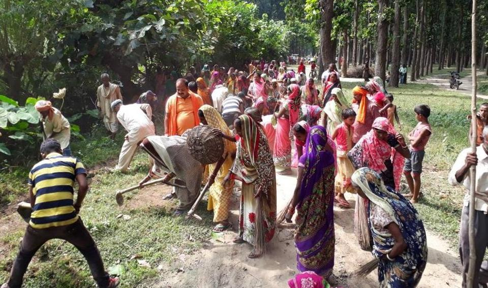 Women of Vantangiya community cleaning their village hoping that the CM will celebrate Diwali with them this year too.