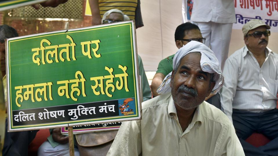 A protest at Jantar Mantar, New Delhi, against the atrocities on Dalits in Saharanpur, Uttar Pradesh.