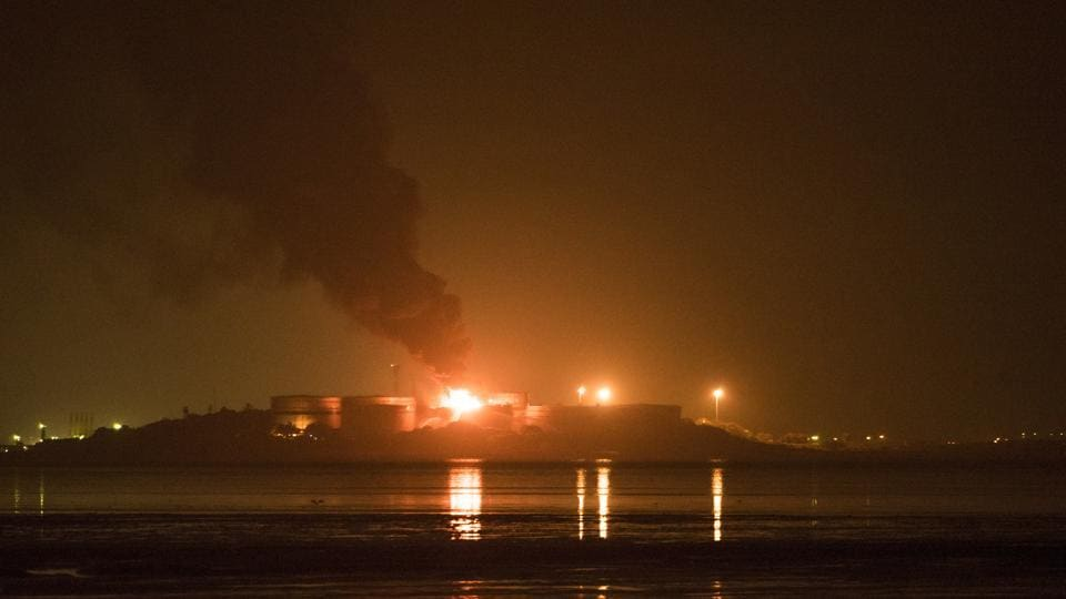 A major fire that broke out in an oil tanker on the Butcher Island continues to rage on Sunday