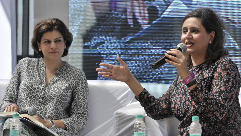News anchor Nidhi Razdan and journalist Sagrika Ghose during a session at the Khuswant Singh Literary Festival-2017,  in Kasauli on Saturday.