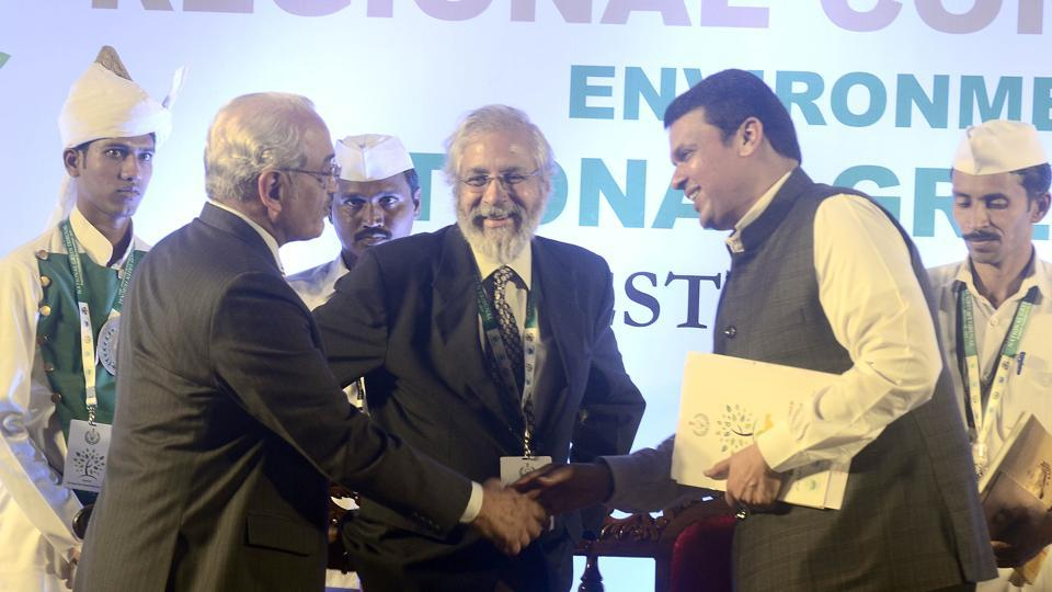 Chairperson of National Green Tribunal Swatanter Kumar (L), Chief Minister of Maharashtra Devendra Phadanvis (R) and Justice Madan Lokure, Supreme court of India (M) at Regional Conference on Environment - 2017 in Pune on Saturday.