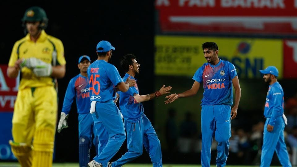Jasprit Bumrah picked up two more wickets as Australia reached 118/8 in 18.4 overs before the rain came.  (BCCI)