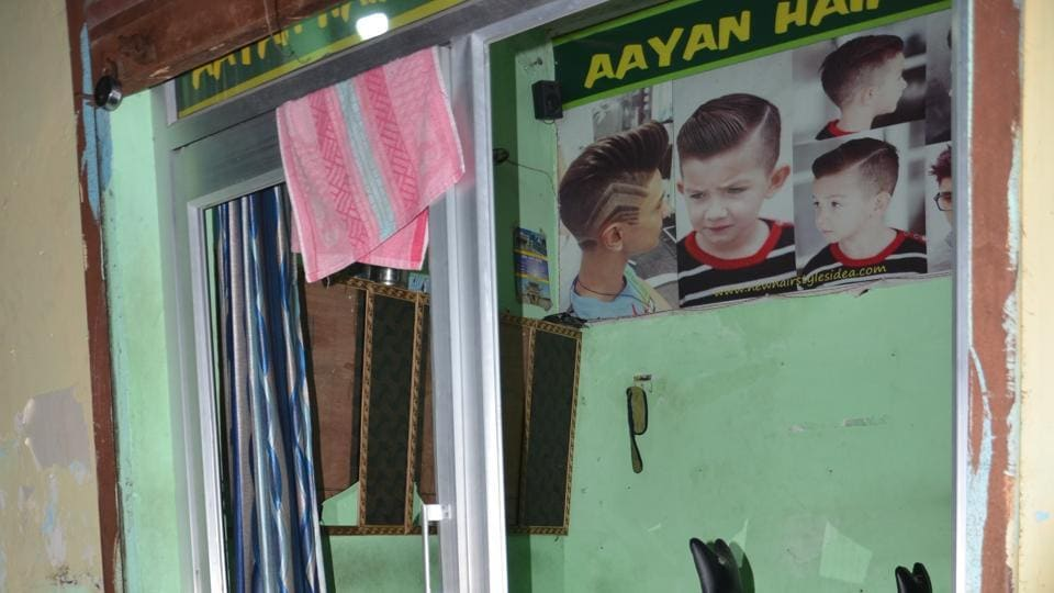 A barber's shop ransacked by the group at Kankhal in Haridwar.