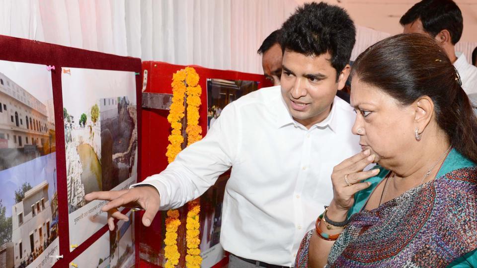 Ajmer collector Gaurav Goyal (left) with chief minister Vasundhara Raje in Ajmer on Saturday.