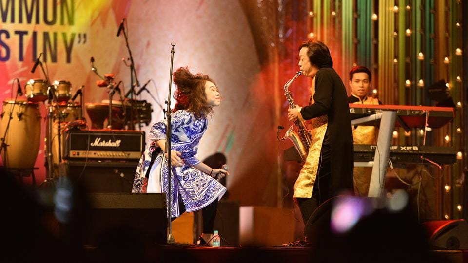 Vietnamese artist performing at  the ASEAN-India Music Festival at Purana Qila. The Festival is being organised to celebrate the 25th year anniversary of ASEAN-India Dialogue Relations. (Arun Sharma/HT PHOTO)