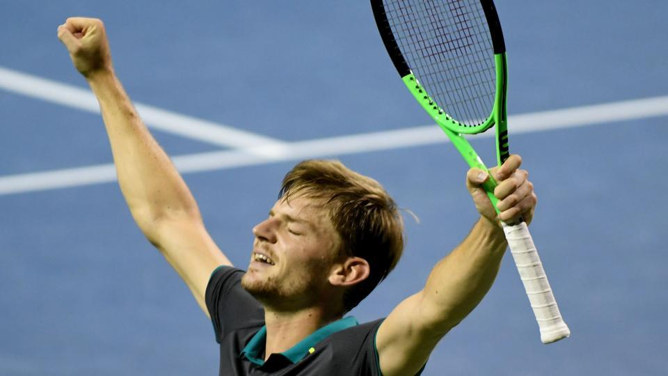 David Goffin celebrates after defeating Diego Schwartzman of Argentina during their men's singles semifinal match of the Japan Open tennis tournament in Tokyo on Saturday.