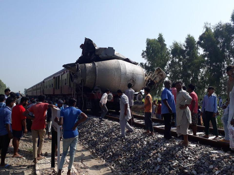 Mangled remains of the train engine, which met with an accident in Fazilka district on Sunday.