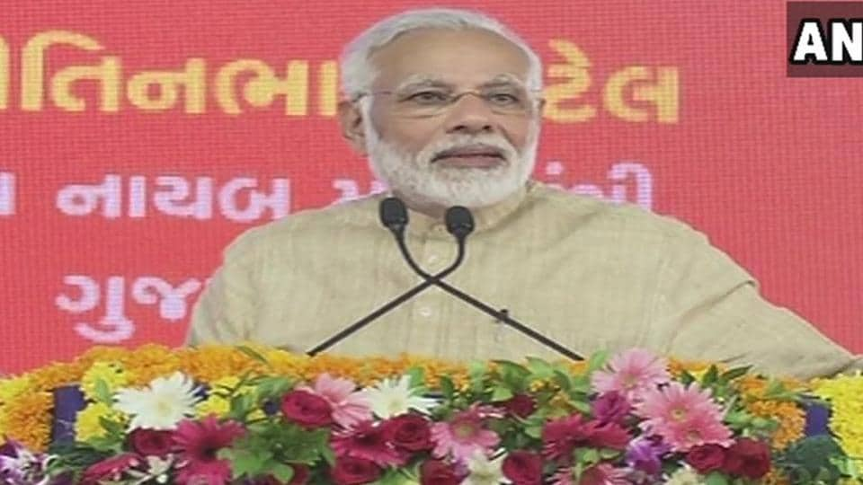 Prime Minister Narendra Modi addresses a rally in his hometown Vadnagar.