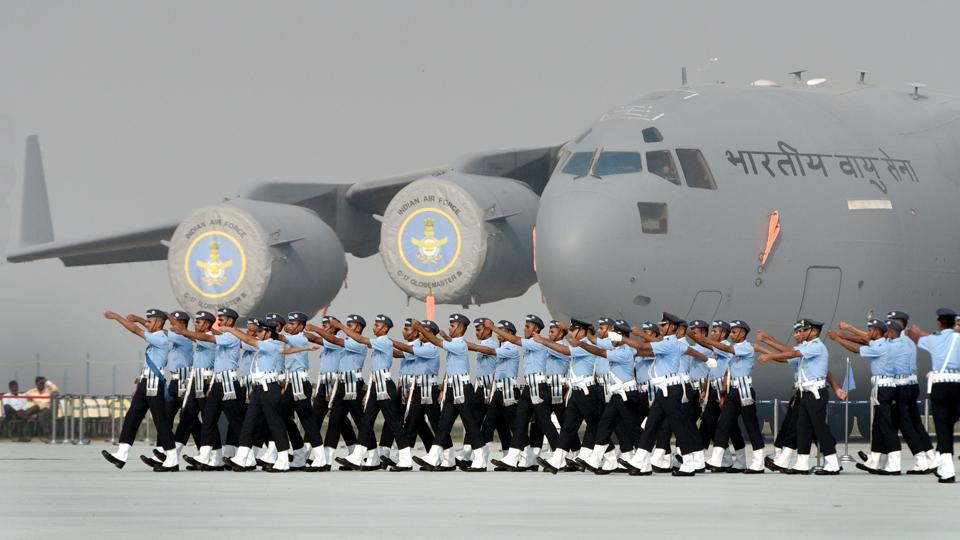 Indian Air Force personnel march during the 85th Air Force Day celebrations at Hindon Air Force base in Ghaziabad. (Sushil Kumar / HT PHOTO)