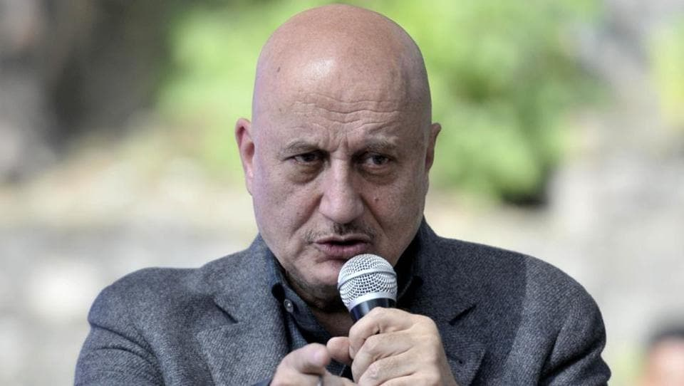 Actor Anupam Kher during his session on the third day of the Khuswant Sing Literature Festival in Kasauli on Sunday.