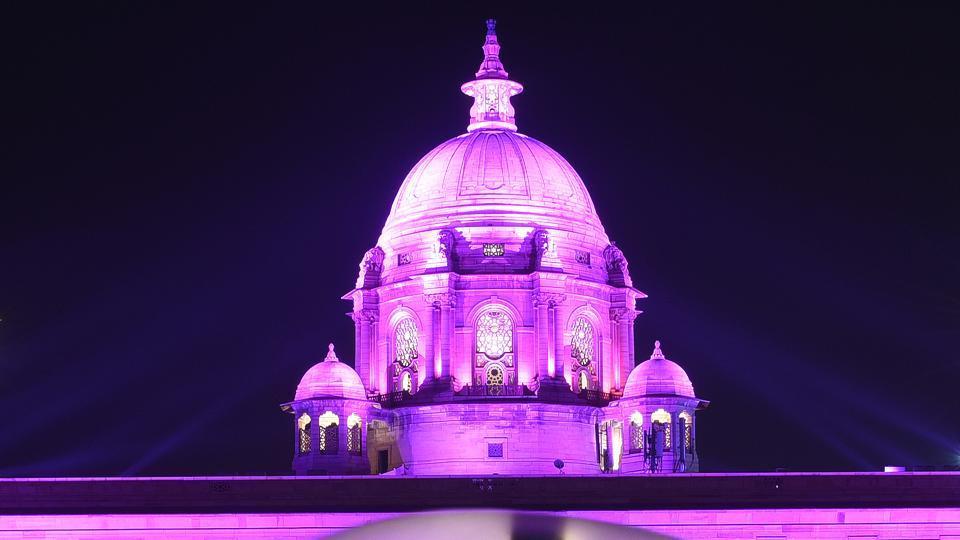 The illuminated North and South Block of Rashtrapati Bhavan in New Delhi on Sunday.