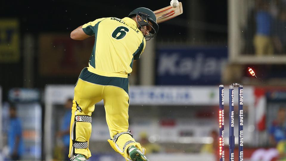 Australia cricket team's Nathan Coulter-Nile gets bowled out by Indian cricket team's Jasprit Bumrah during their T20I cricket match in Ranchi on Saturday.