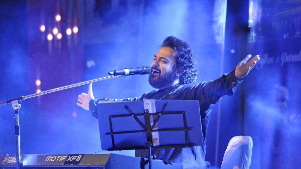 Adnan Sami performs during a concert in Srinagar on Saturday.
