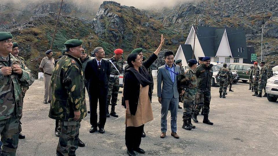 Union defence minister Nirmala Sitharaman at Nathu La. The minister posted on her Twitter handle that she was acknowledging a row of Chinese soldiers from across the fence who were taking pictures on her arrival.