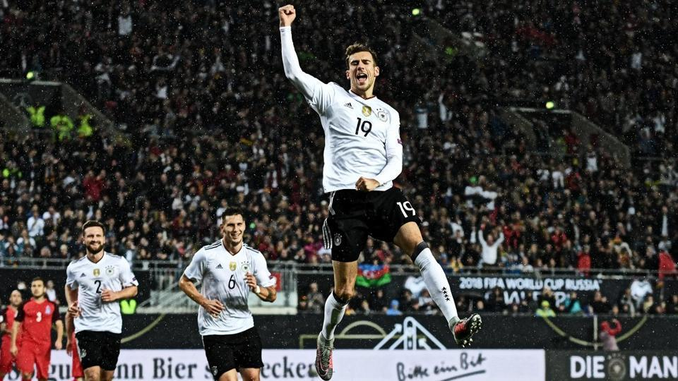 Leon Goretzka scored twice as Germany thrashed Azerbaijan 5-1 to finish their FIFA World Cup qualifying campaign with a 10th straight victory.