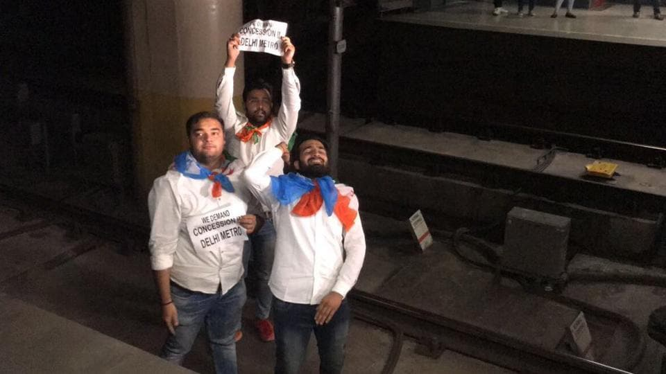 Four members of NSUI protested on the tracks for about 5-7 minutes, delaying Metro services  by at least 10 minutes.