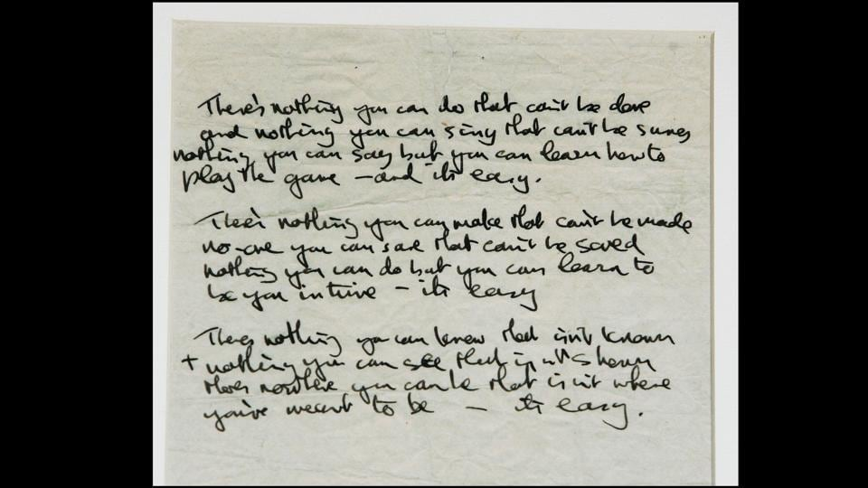 'The All You Need is Love' lyric manuscript in John Lennon's original handwriting, as seen at the press preview of a major Lennon memorabilia collection at Club Cirque on June 27, 2005 in London, England. One of the most iconic songs from The Beatles repertoire, the song was written by Lennon but credited to both Lennon and Paul McCartney. (Chris Jackson / Getty Images)