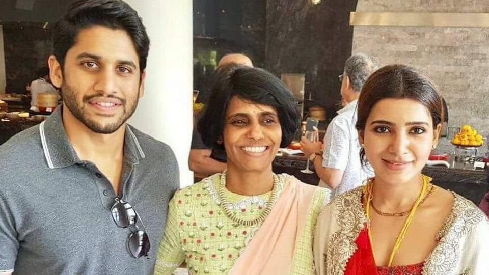 Naga Chaitanya and wife Samantha Ruth Prabhu posed with smiles for camera after the wedding.