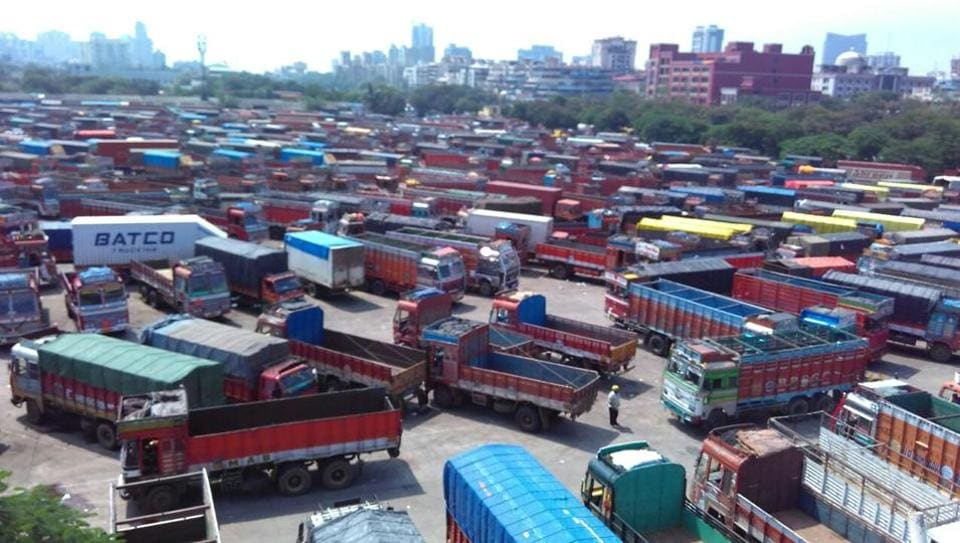 Trucks parked at the APMC truck terminal in Turbhe, Navi Mumbai, in response to the  two-day nationwide strike starting Monday.