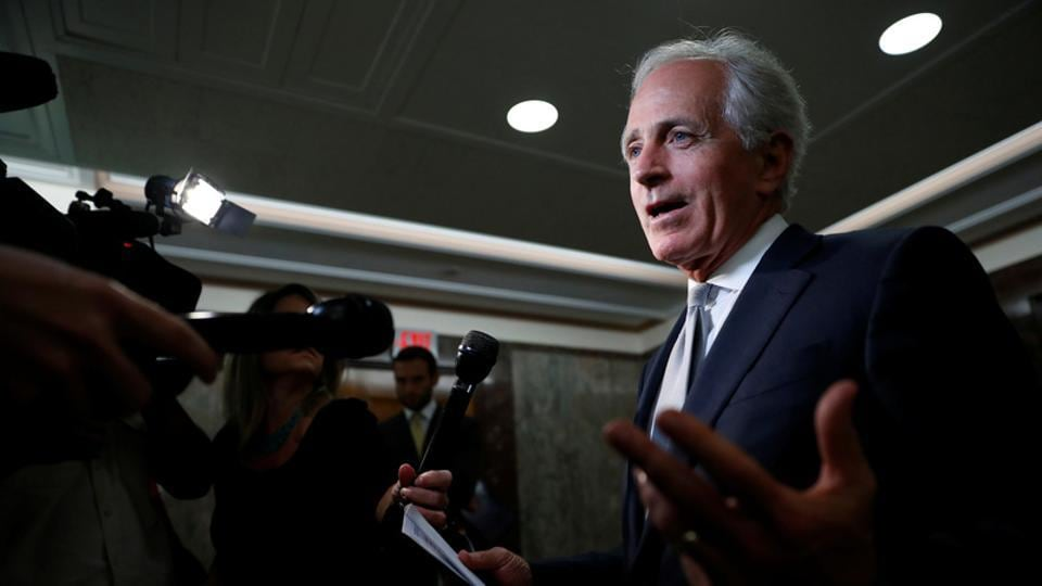 Sen. Bob Corker speaks with reporters after announcing his retirement at the conclusion of his term on Capitol Hill in Washington, US, September 26, 2017.