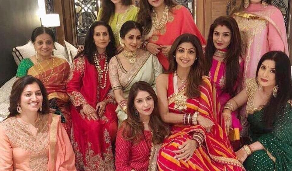 Bollywood actresses Sridevi, Raveena Tandon and Shilpa Shetty celebrate Karwa Chauth in style.