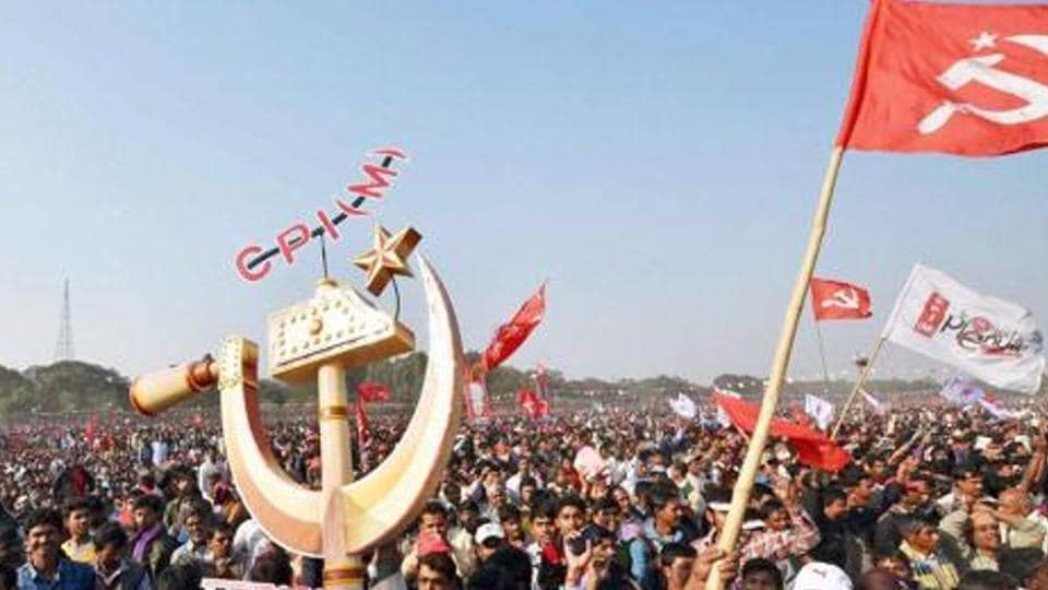 Some crude bombs were hurled around on a procession taken out by CPI(M) activists at Kaivellikal on Sunday evening
