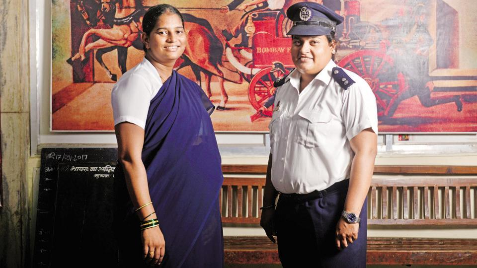 Assistant station officers Sunita Patil (left) and Shubhangi Bhor at the Byculla fire station.  (Aniruddha Chowdhury / Mint)