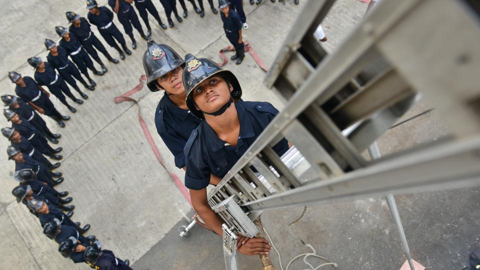 Women firefighters during a training drill at the Wadala fire station in Mumbai. Around 60-70 firewomen will begin work across Mumbai's 34 fire stations by the end of this year. (Aniruddha Chowdhury / Mint)