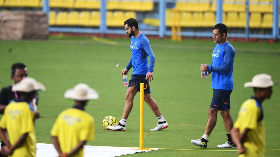 Virat Kohli and the Indian cricket team had an intense practice session at the Barsapara cricket stadium in Guwahati. (AFP)