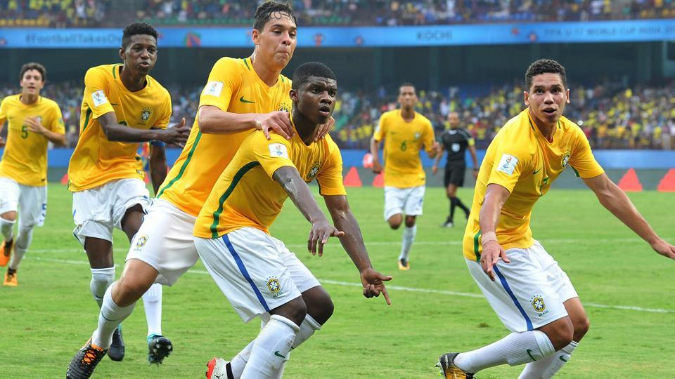 Brazil  came back from a goal down to beat Spain in their opening game of the FIFA U-17 World Cup