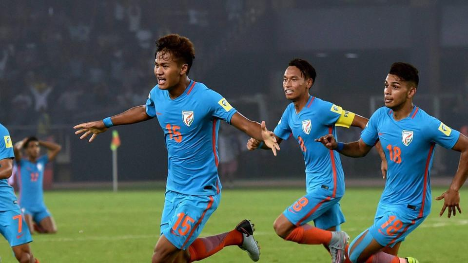 Jeakson Thounaojam  created history as he scored the first-ever goal for India in a major FIFA event but they lost a hard-fought game 2-1 against Colombia in the FIFA U-17 World Cup. (PTI)