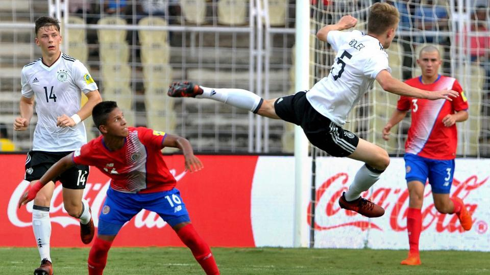 Costa Rica conceded a last-minute goal against Germany in their opening FIFAU-17 World Cup game while Guinea lost 1-3 to Iran.