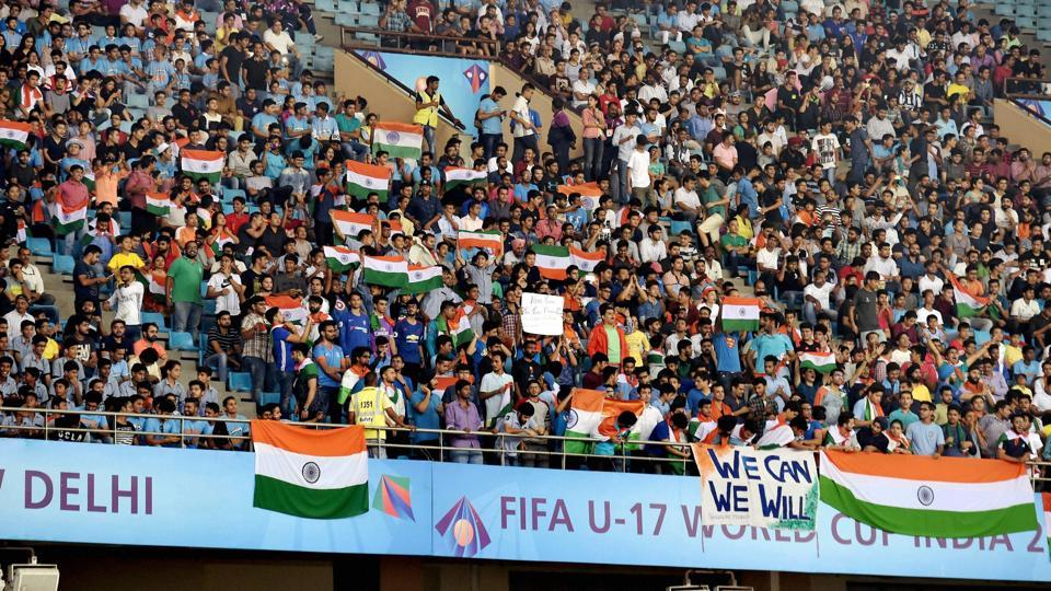 Thousands of Indian fans cheered the Indian football team as they took on Colombia in the FIFA U-17 World Cup encounter.  (PTI)