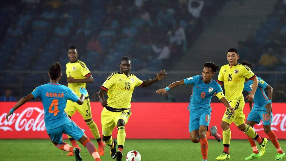Colombian players controlled possession but India came out with more confidence. (PTI)