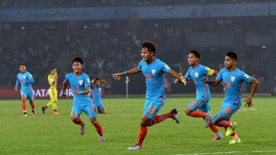 Jeakson Thounaojam created history as he scored the first goal by an Indian football player in a major FIFA tournament.  (PTI)