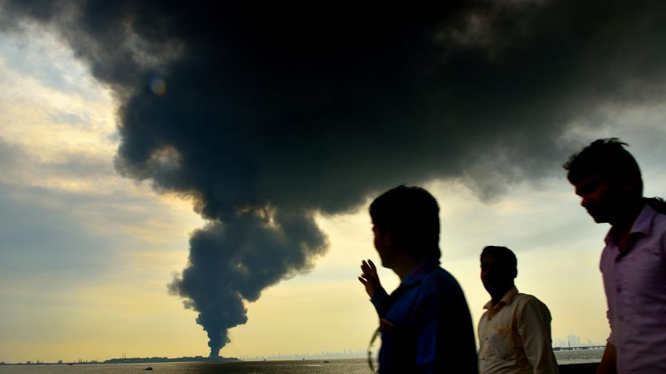 The smoke from the Butcher Island seen at Elephanta caves.