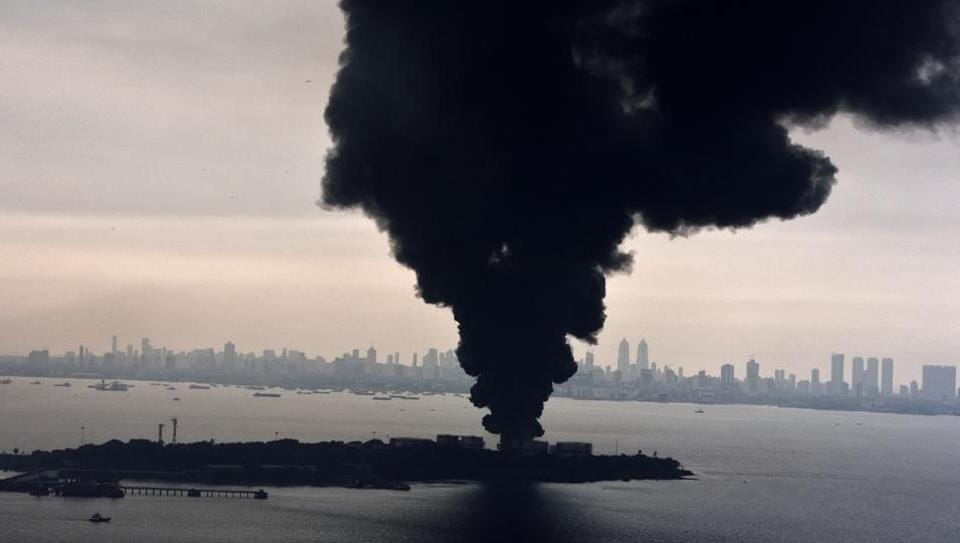 The fire at Butcher Island, off Mumbai's coast, raged on for three days, but fire-fighters managed to contain it to the one oil tank where it started.